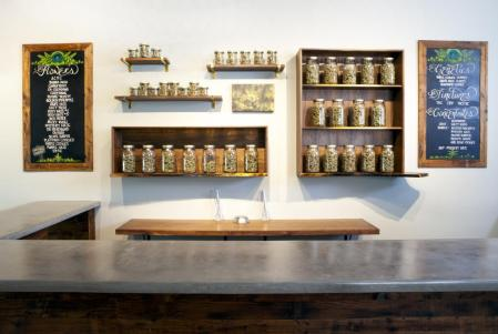 Counter area of a marijuana dispensary in Portland, OR where weed is now legal.